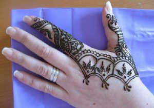 Stylish mehendi design on my mom's hand