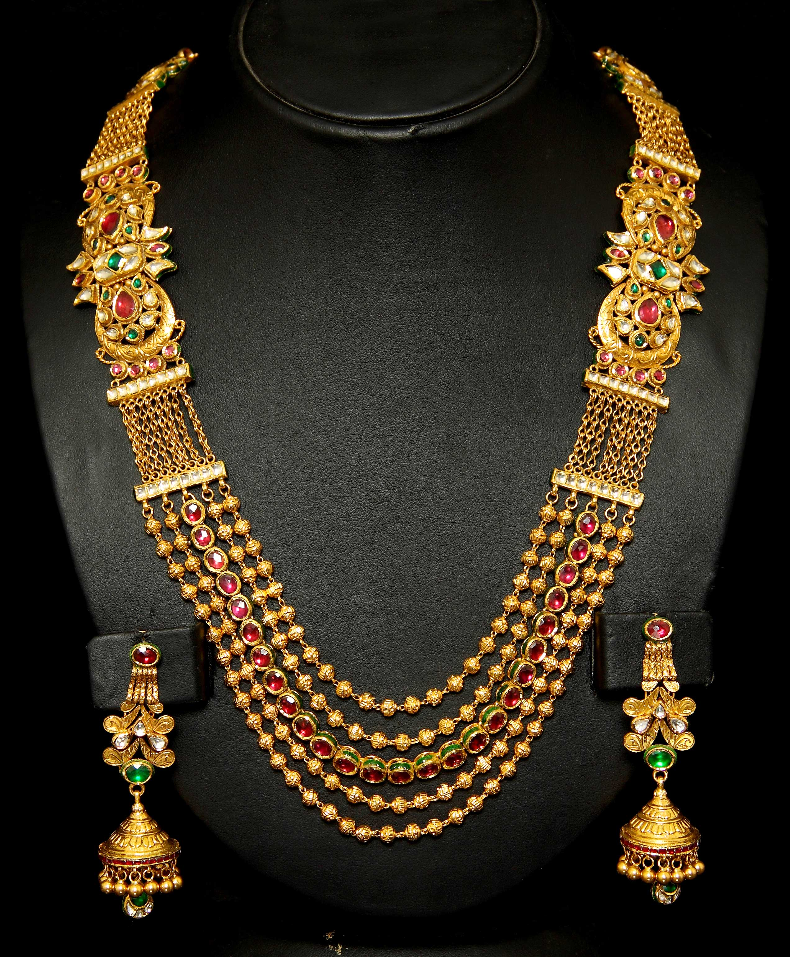 gold designer raj antique pearl jewels necklace drop k pendant set