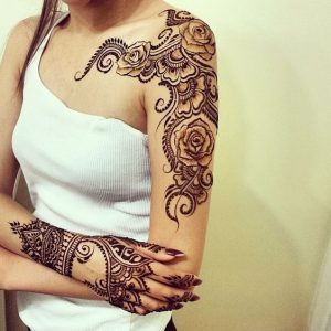 Shoulder and hand mehendi design
