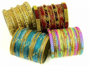 Glass and metal bangles