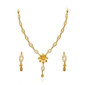 Stylish single flower beautiful gold necklace