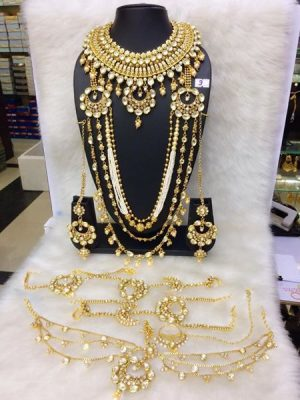 Long Golden necklace set