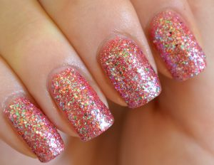 Sprinkle pink colour nail art