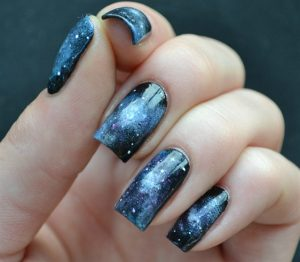 Universe color nail art style