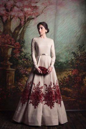 White Designer Indo Western Gown