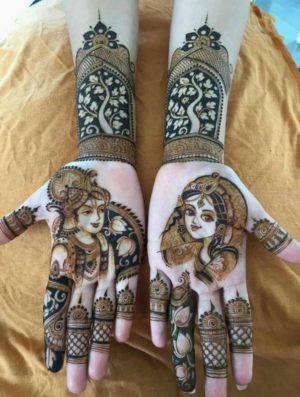 Bridal palm mehendi design